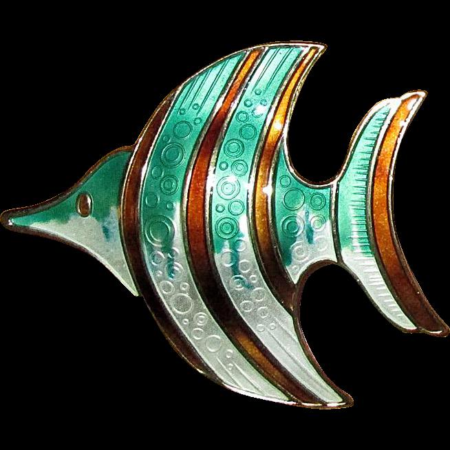 D-A David Andersen of Norway Guilloche Enamel Fish Pin