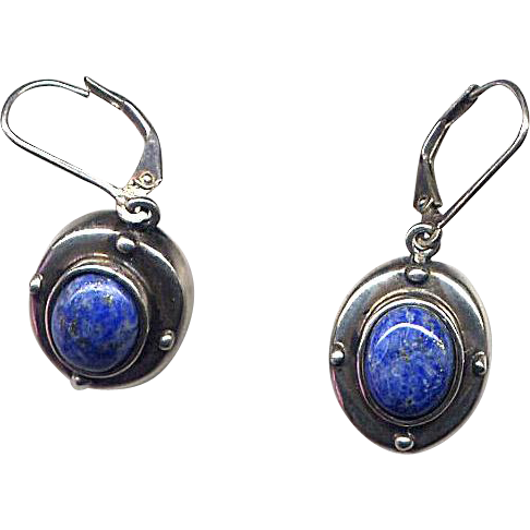 Sterling Silver Lever-Back Earrings with Lapis Stones