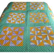"Vintage Hand-Sewn Patchwork ""Broken Dishes"" Quilt"
