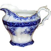 "English Flow Blue Pottery ""Touraine"" Creamer"