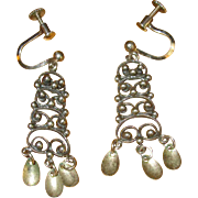 Norway Sterling Solje Screw-Back Earrings