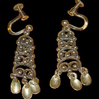 Norway Sterling Solje Screw-Back Earrings