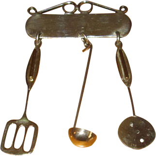 Mexican Sterling Kitchen Utensils Pin