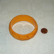 Vintage Caramel Bakelite Bangle with Carving