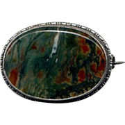 Sterling Silver Red & Green Moss Agate Pin