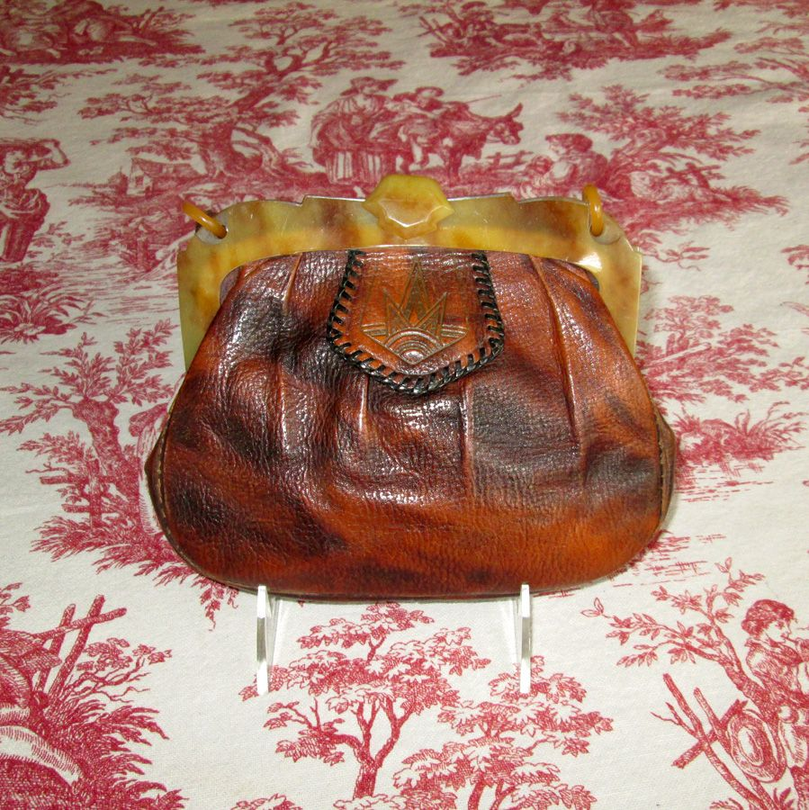 Tooled Leather Purse with Celluloid Frame