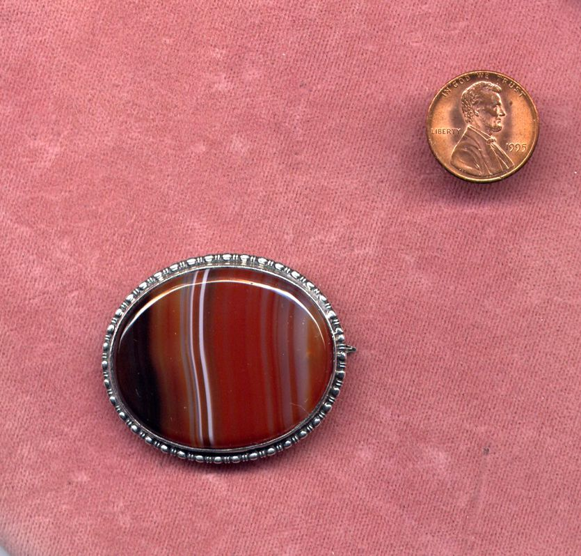 Sterling Silver Brooch with Banded Agate