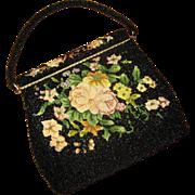 Black Beaded Handbag with Petit-Point Decoration