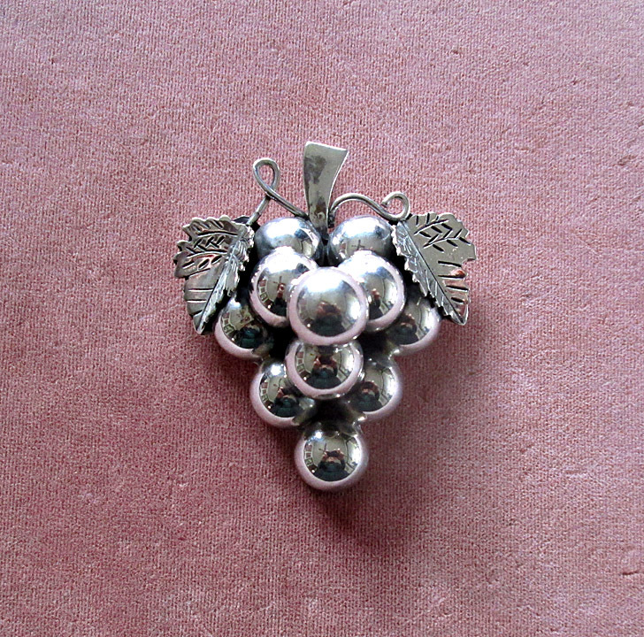 Mexican Sterling Grape Cluster Pin or Pendant