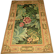Hand-Made Woolen Floral Needlepoint Rug