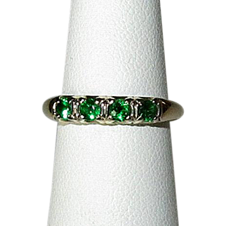 14K Green Garnet Band Ring