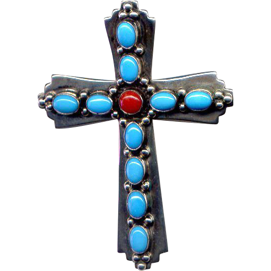 Native American Sterling Cross with Turquoise & Coral