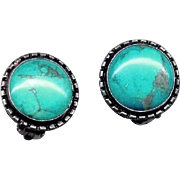 Native American Blue Turquoise & Silver Clip Earrings