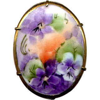 Vintage Hand-Painted Ceramic Brooch with Violets