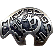 Native American Hopi Sterling Bear Pendant with Kokopeli