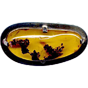 Sterling Silver Modernist Amber Pin or Pendant