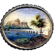 Vintage Silver Brooch with Hand-Painted Italian Landscape