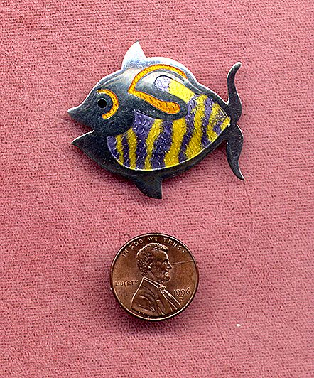Castelan Mexico Sterling Enamel Fish Pin