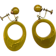 Chartreuse Yellow-Green Bakelite Drop Earrings
