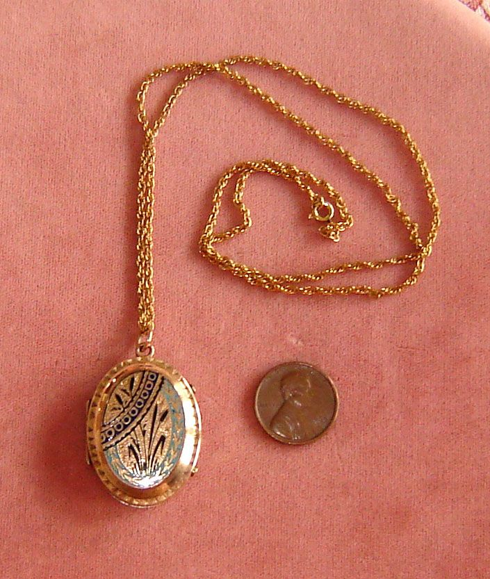 Gold-Filled Enameled Victorian Locket with Hair