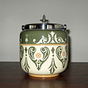 "English Hand-Decorated Pottery ""Lovique"" Biscuit Jar"
