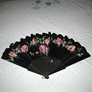Victorian Black Satin Fan with Hand-Painted Roses