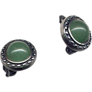 Silver and Aventurine Clip Earrings