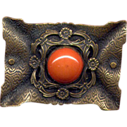 Large Edwardian Costume Brass Pin with Orange Stone