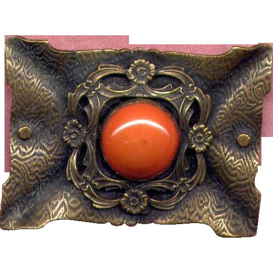 Large Edwardian Costume Brass Pin with Orange Stone