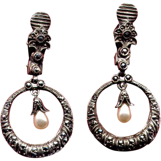 Sterling & Marcasite Drop Clip Earrings with Pearls