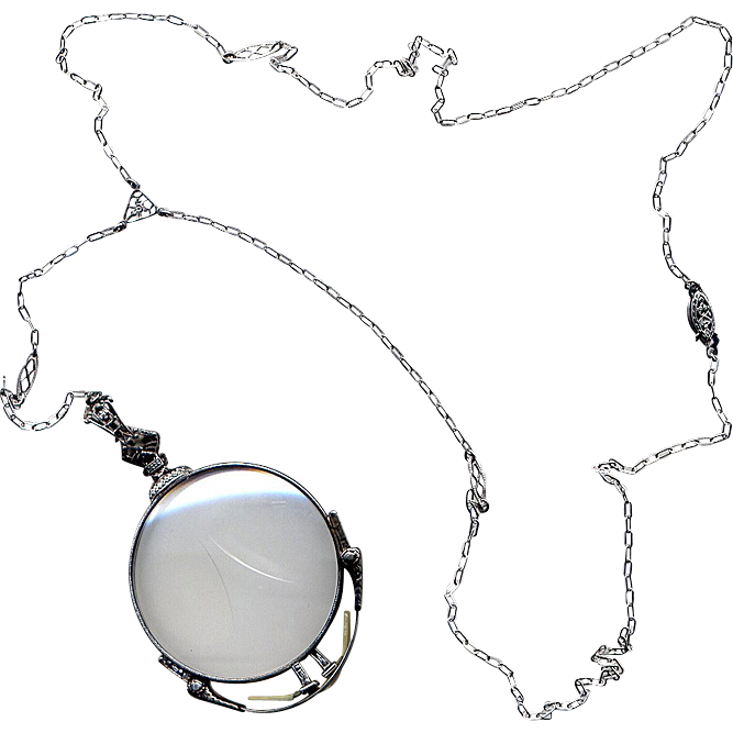 White Gold-Filled Pinc-Nez with Detachable Chain