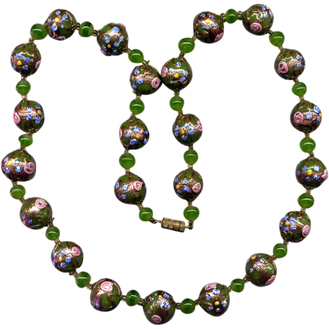 Green Venetian Glass Bead Necklace