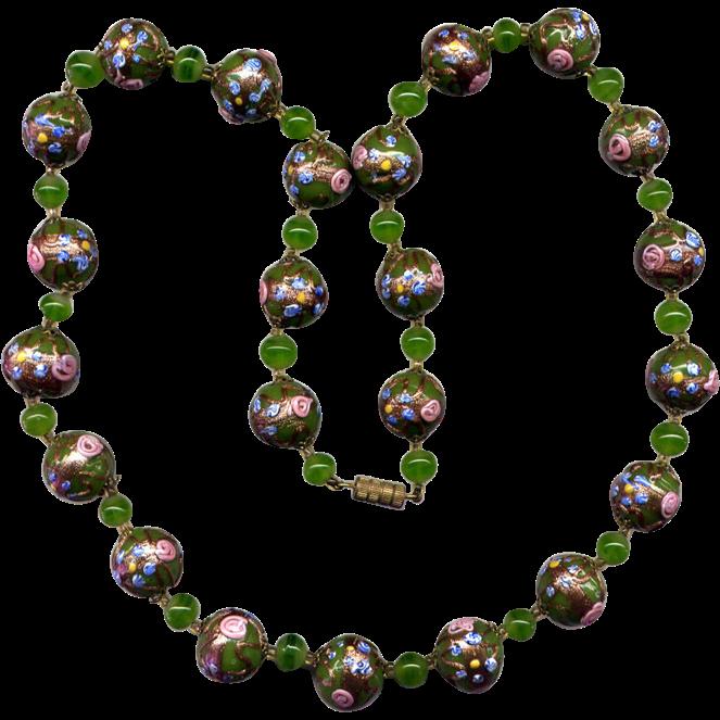 Green Venetian Glass Bead Necklace