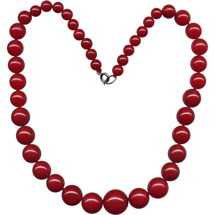 "17"" Red Vintage Bakelite Graduated Bead Necklace"