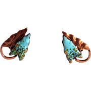 Burnished Copper and Enamel Double Leaf Clip Earrings