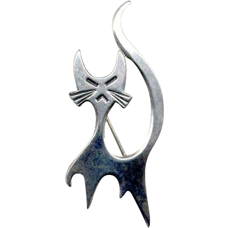 Vintage Beau Sterling Snooty Cat Pin