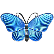 Norway Sterling & Blue Guilloche Enamel Butterfly Pin