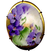 Hand Decorated Ceramic Pin with Violets