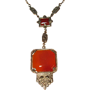 Art Deco Sterling Carnelian Pendant Necklace with Marcasites