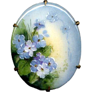 Hand-Painted Ceramic Pin with Forget-Me-Nots
