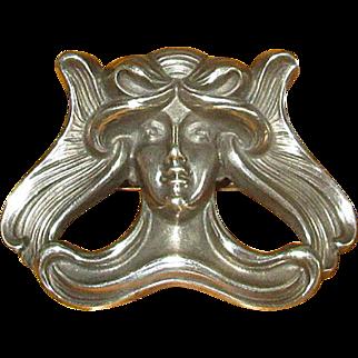 Original Sterling Silver Art Nouveau Lady Pin from Kerr