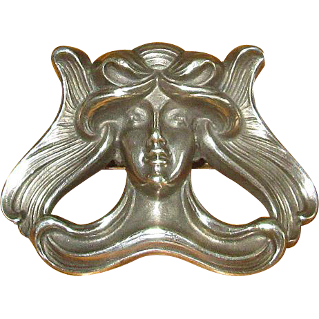 Original Sterling Silver Art Nouveau Lady Pin from Kerr