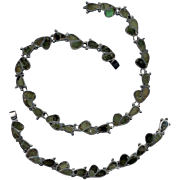 Mexican Sterling Inlaid Necklace and Bracelet Set