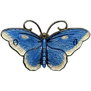 Norway Sterling Butterfly Pin with Blue and White Guilloche Enamel