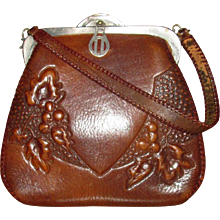 Arts & Crafts Tooled Leather Handbag with Grapes