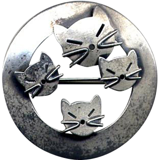 Beau Sterling Modernist Cats Pin
