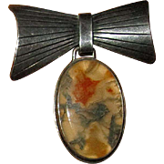 Swedish Sterling Bow Brooch with Moss Agate Pendant