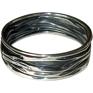 Mexican Silver Bangle Bracelet with Modernist Design