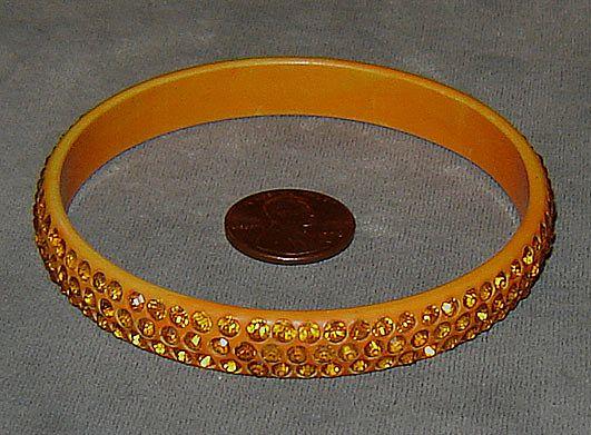 Orange Celluloid Bangle Bracelet with Orange Rhinestones