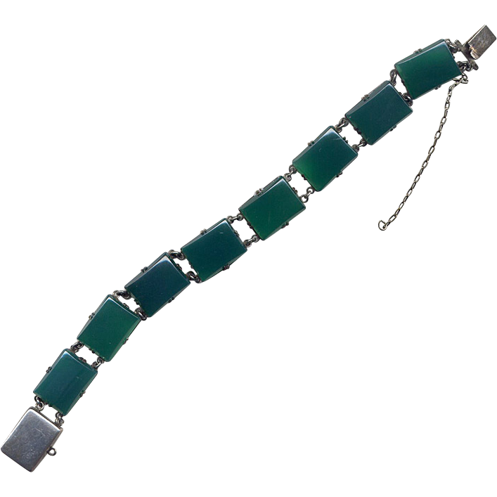 Silver and Chrysoprase Green Onyx Link Bracelet